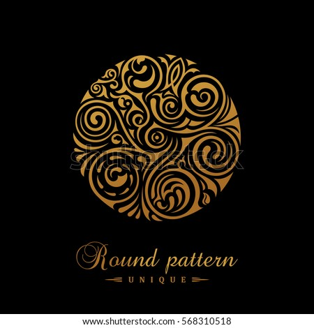 Round calligraphic royal gold emblem. Vector floral symbol for cafe, restaurant, shop, print, stamp. Logo design template label for coffee, tea, business card. Isolated tattoo ornament