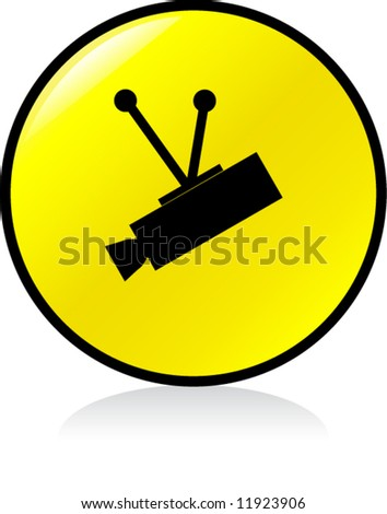 round CCTV sign - YELLOW version