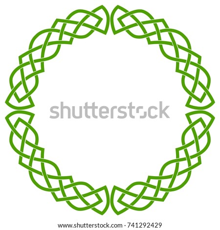 Round Celtic frame, wreath or circle. Colored green isolated image on white background. Сток-фото ©
