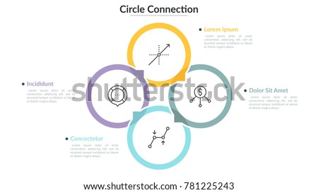 Round chart with 4 colored translucent overlapping circles with thin line pictograms inside and text boxes. Modern infographic design template. Vector illustration for presentation, brochure, website.