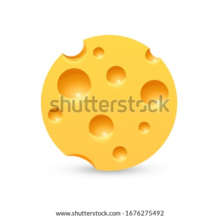 Round Cheese icon on white background. Label for Cheese farm or Store in realistic style.