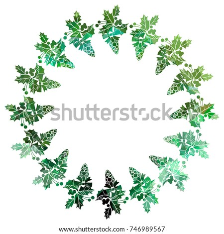 Round Christmas frame with holly berries silhouettes. Copy space. Christmas design decor element. Vector clip art.