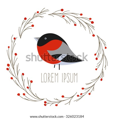 Round Christmas wreath with bullfinch and berry; vector illustration