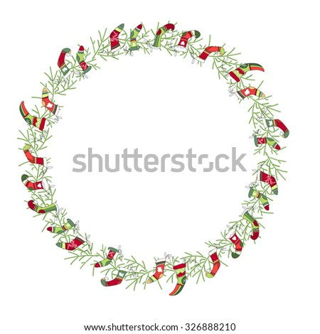 Round Christmas wreath with Santa socks isolated on white. For festive design, announcements, postcards, posters.