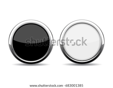 Round chrome glass buttons vector illustration on white background
