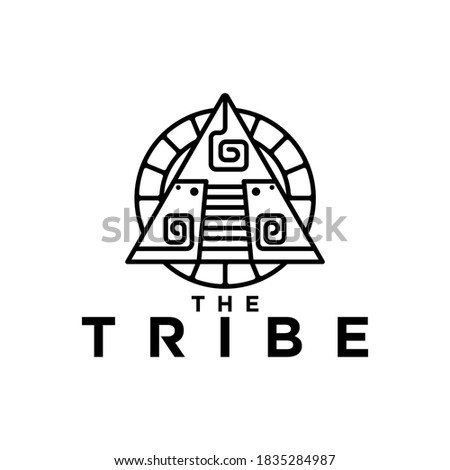 round circle simple rock ornament and pyramid mayans ethnics concept Photo stock ©