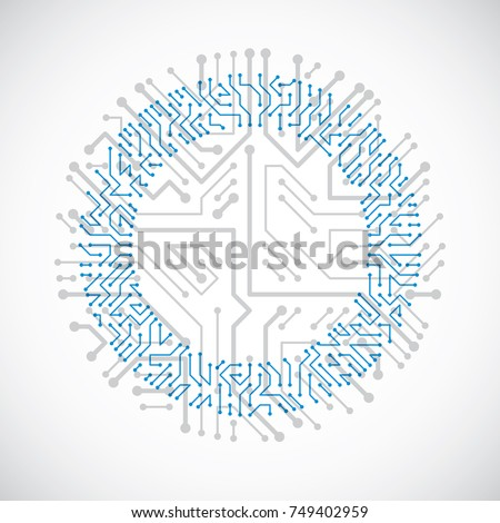 Round circuit board with electronic components of technology device. Computer motherboard cybernetic colorful vector abstraction.