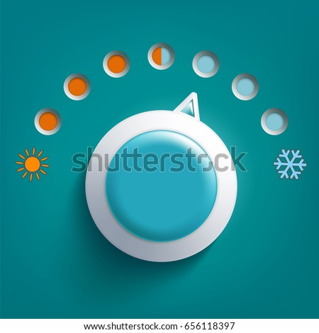 Round climate control regulator. Switch toggle hot and cold temperatures. Stock vector illustration.