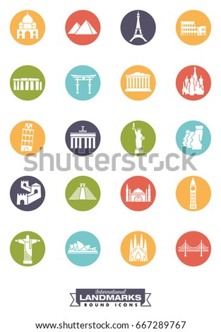 Round color icons collection of international landmarks