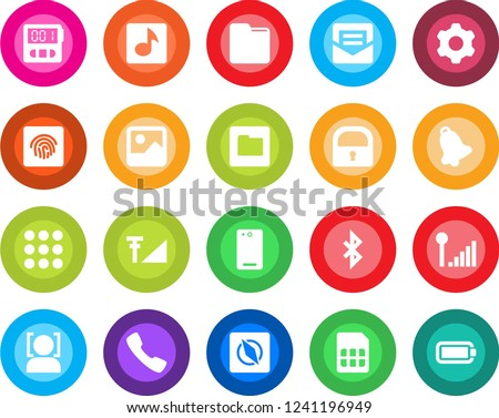 Round color solid flat icon set - phone back vector, call, menu, gallery, settings, stopwatch, bell, mail, sim, folder, bluetooth, compass, lock, face id, fingerprint, music, cellular signal