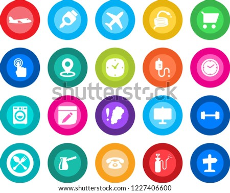 round color solid flat icon set