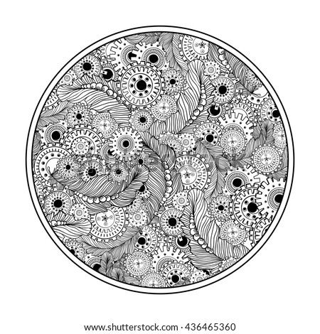 round coloring book page design