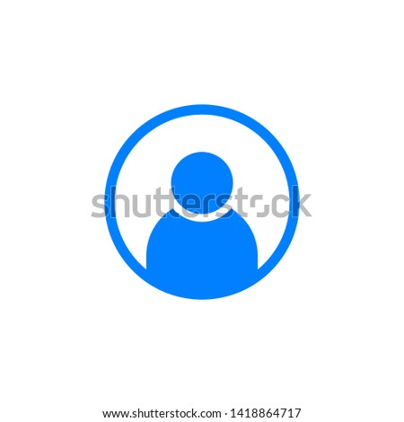 Round contact icon in flat design isolated on white background.
