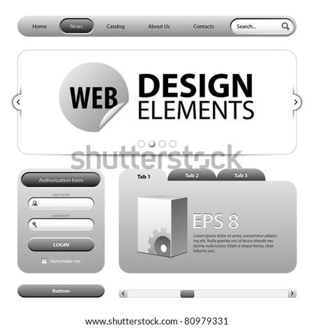 Round Corner Web Design Elements Graphite Gray