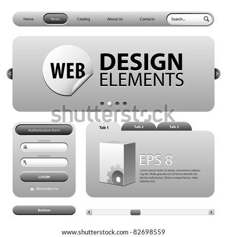 Round Corner Web Design Elements Graphite Gray: Version 2