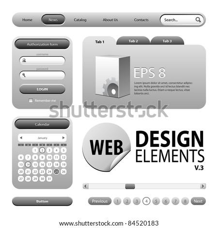 Round Corner Web Design Graphite Gray Elements: Buttons, Form, Slider, Scroll, Icons, Tab, Menu, Navigation Bar, Login, Calendar, Accordion, Template  Version 3