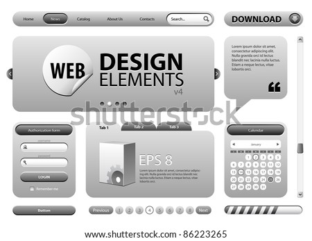 Round Corner Web Design Graphite Gray Elements: Buttons, Form, Slider, Scroll, Icons, Tab, Menu, Navigation Bar, Login, Calendar, Template Version 4
