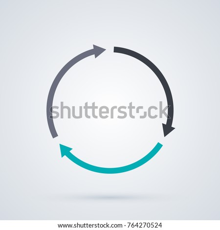 Round cycle template with three segments in elegant business style on white background.