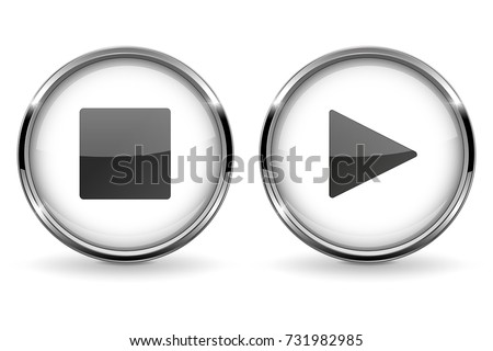 Round 3d buttons with metal frame. Play and Stop icons. Vector 3d illustration isolated on white background
