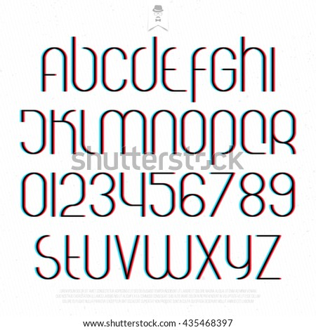 round 3d effect alphabet letters and numbers on white background. vector font type design. distortion lettering icons. stylized glitch text typesetting. stereoscopic illusion typography template