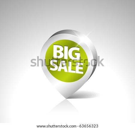 Round 3D pointer for big sale - green with silver border