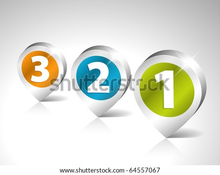 Round 3D pointers for first, second and third place - stock vector