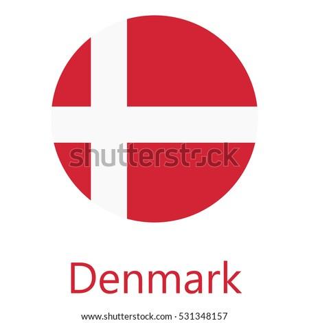 round denmark flag vector icon