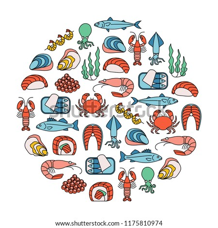 round design element with colorfood seafood icons