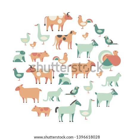 round design element with farm animals and pets