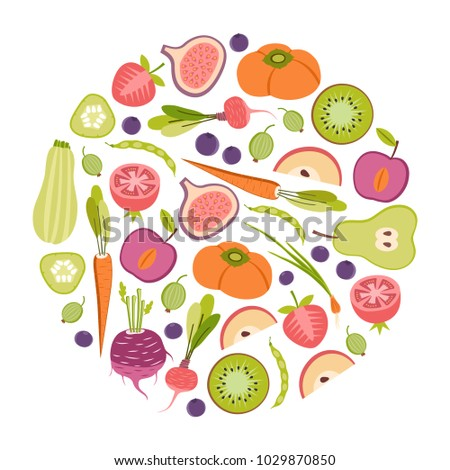 round design element with fruits and vegetables