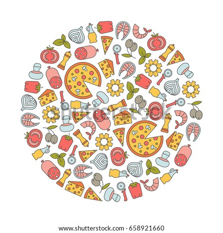 round design element with pizza icons