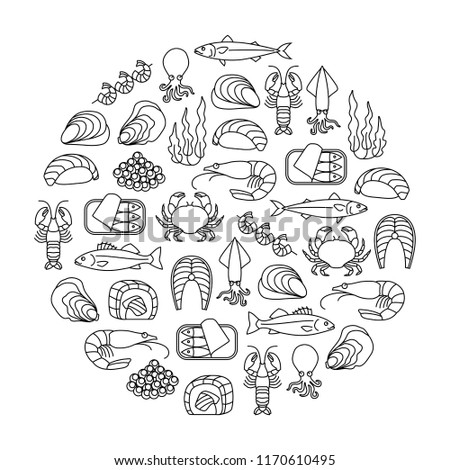 round design element with seafood icons