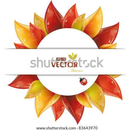 Round design of autumnal leaves, vector illustration, eps-10