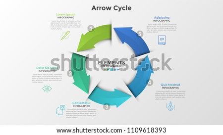 Modern vector circle infographic download free vector art stock round diagram with five colorful arrows thin line symbols and text boxes concept of ccuart Image collections