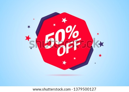 Round discount tag with 50 percents off text. Label for special offers, discounts, sales and other shop or service promotions. Vector illustration.