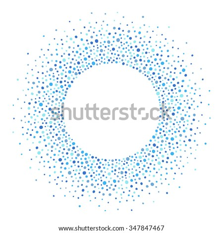 Round dots frame with empty space for your text. Frame made of blue spots or dots of various size. Circle shape. Shades of blue abstract background.