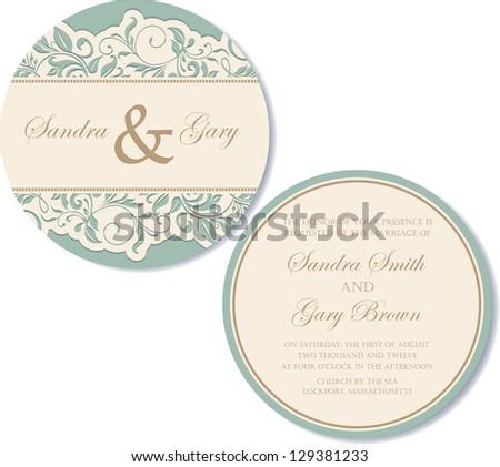 Round, double-sided vintage wedding invitation.
