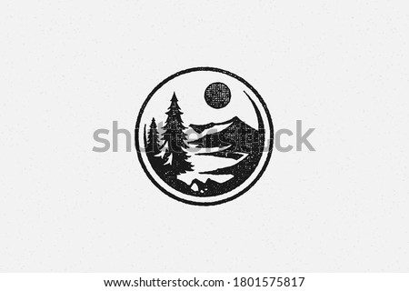 Round emblem with forest trees and mountain ridge silhouette of trekking hand drawn stamp effect vector illustration. Vintage grunge texture on old paper for poster or label decoration.
