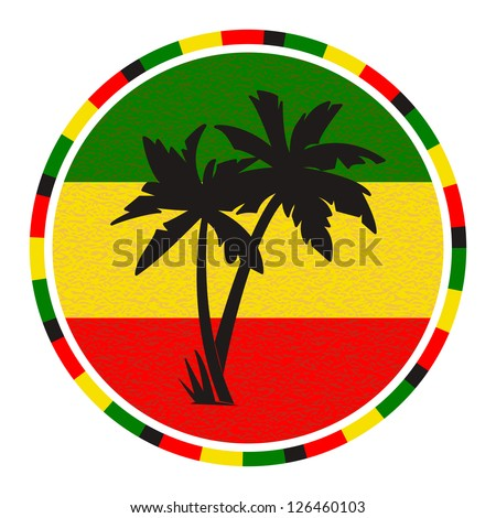 round emblem with palm trees on