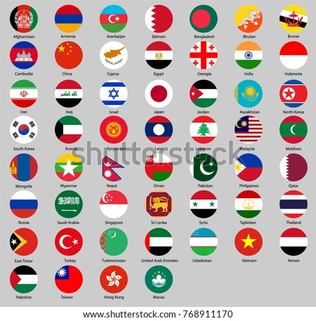 round flags of Asia