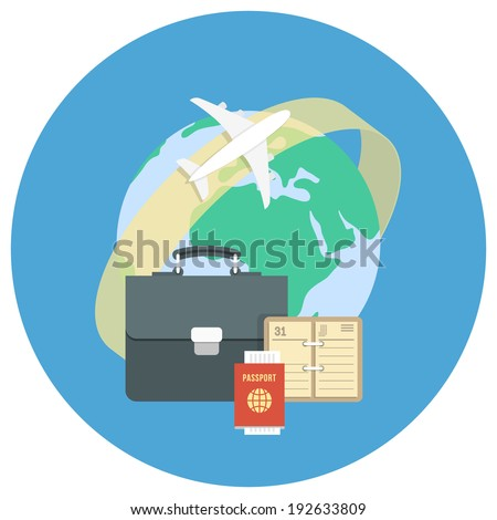 Round flat conceptual illustration of international business travel by airplane stock photo
