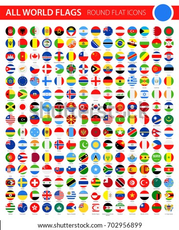 Round Flat Flag Icons on Black Background - All World Vector illustration