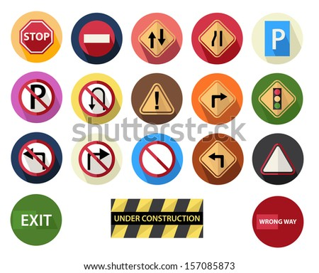 round flat icons set 4 traffic