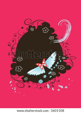 round floral frame for text or photo with butterfly
