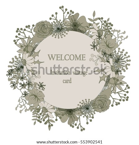 Round floral greeting card