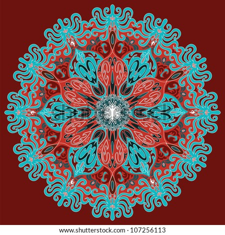 round flower exotic pattern red blue