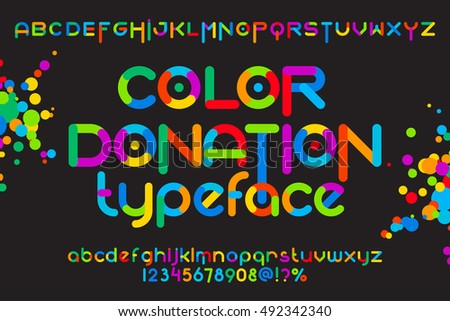 Round font set. Color font donation typeset. Vector colorful alphabet