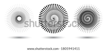 round form with halftone transitions. stripe lines in circle as logo or icon Stockfoto ©