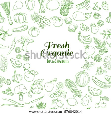 Round Frame background pattern of organic farm fresh fruits and vegetables. Vector illustration. Outline line flat style design. White backdrop.
