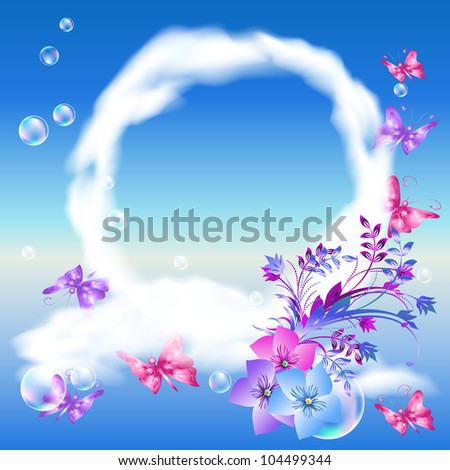 Round frame of clouds, flowers, butterflies in the sky